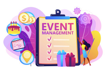 Manager with checklist creating event plan and development. Event management and planning service, how to plan an event, planning software concept. Bright vibrant violet vector isolated illustration