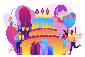 Happy people with gifts celebrating birthday at huge cake. Birthday party supplies, birthday party Invitations, birthday planning concept. Bright vibrant violet vector isolated illustration