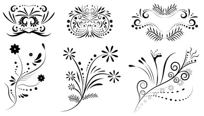 Floral ornament design set.