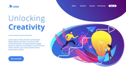 Businessman running up stairs arrow to lightbulb. Creative inspiration, how to find inspiration and unlocking creativity concept on white background. Website vibrant violet landing web page template.
