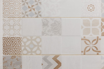 Patchwork ceramic tile pattern bathroom wall design Fototapete