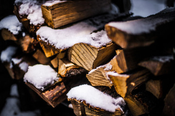wooden logs in the snow