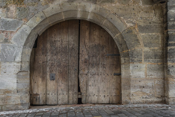 Door in the bastion of Rothenburg above Tauber.