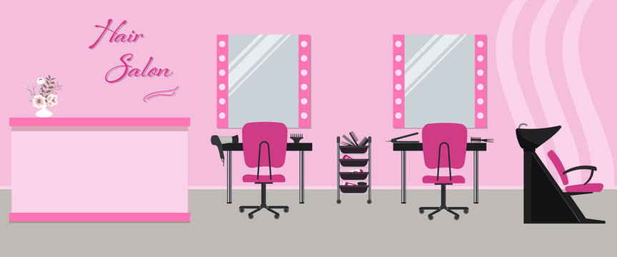"Hair salon interior in a pink color. Beauty salon. There are tables, chairs, a bath for washing the hair, mirrors, hair dryer in the image. There is also text ""Hair Salon"" on the wall. Vector"