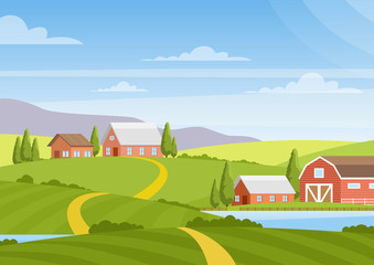 Vector illustration of beautiful countryside landscape with fields, dawn, green hills, farm, houses, trees, bright color blue sky, background in flat cartoon style.