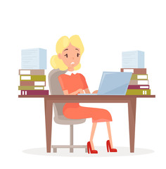 Vector illustration of working business woman at the desk with laptop and lot of papers. Woman in office in stress. Manager tired and working on computer, stressed girl in cartoon flat style.