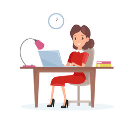 Vector illustration concept of business woman. Happy woman is working on the laptop computer at the desk in cartoon flat style.