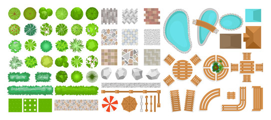 Fotorolgordijn Wit Vector illustration set of park elements for landscape design. Top view of trees, outdoor furniture, plants and architectural elements, fences, sun loungers, umbrellas isolated on white background