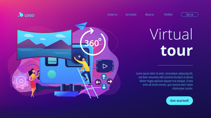 Business people on virtual reality tour 360 watching beautiful landscape and a camera. Virtual tour, 3d reality tours, virtual reality walk concept. Website vibrant violet landing web page template. Wall mural