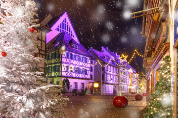 Poster Cappuccino Christmas street at night in Colmar, Alsace, France