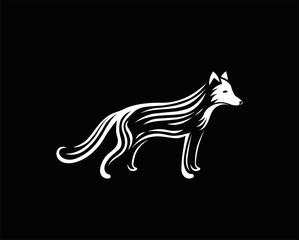 Fox logo vector. Animal engraving vector illustration