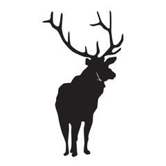 Deer black silhouette on white vector illustration