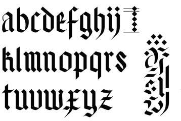 gothic font alphabet - old letters