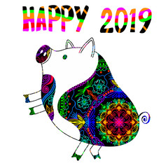Pig is a symbol of the 2019 Chinese New Year. Decorative ornamented zodiac sign Pig on white background