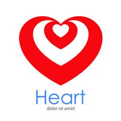 Logotipo Heart con corazones concentricos arriba en espacio negativo en corazón en color rojo