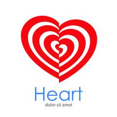 Logotipo Heart con corazones concentricos desplazados en color rojo