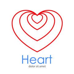 Logotipo Heart con corazones lineales concentricos arriba en color rojo