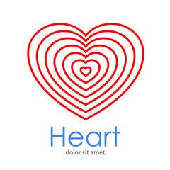 Logotipo Heart con corazones lineales concentricos en color rojo