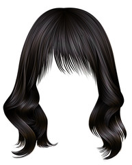 trendy woman long hairs brunette dark brown  colors .  beauty fashion .  realistic 3d
