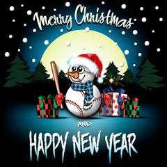 Snowman from baseball balls with bat and sparklers