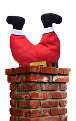 Santa Claus upsided down with his Legs sticking out of a chimney