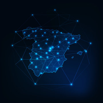 Spain map outline with stars and lines abstract framework.