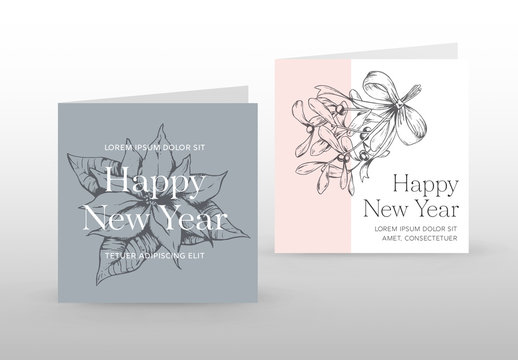 Holiday Card Layout with Vintage-Style Illustrations