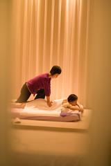 Woman receiving a back massage.