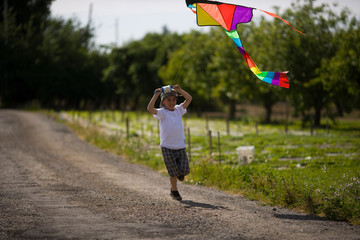 A young boy running and flying a kite in an orchard