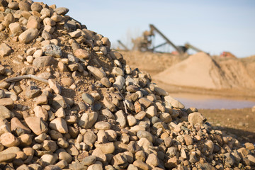 Pile of dirt and rocks in a quarry.