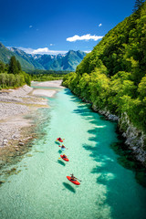 Deurstickers Rivier River Soča in Slovenia, Europe