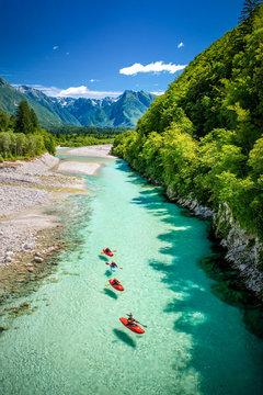 River Soča in Slovenia, Europe