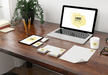 Corporate Identity on Desk Mockup Set