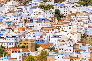 Cityscape of the blue city of Chefchaouen in the Rif mountains, Morocco