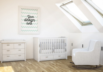 Framed Print in Baby Nursery Mockup