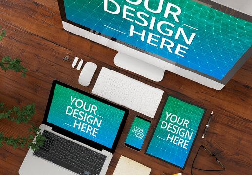 4 Devices on Desk Mockup