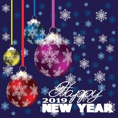 Happy new year design layout on dark blue background with 2019.