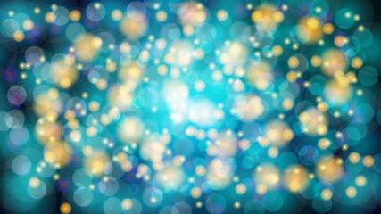 Abstract blue blurred background with bokeh effect. Magical bright festive multicolored beautiful glowing shiny with light spots, round circles. Texture. Vector illustration