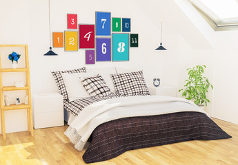 11 Frames on Bedroom Wall Mockup