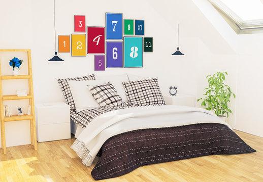 11 Frames on Bedroom Wall Mockup