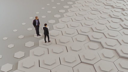 Two business man on the hexagon shapes.