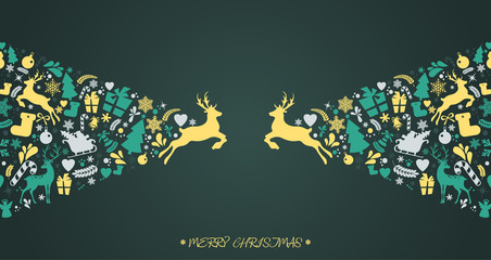 Merry Christmas and New Year icons elements, pattern background with holiday elements, wrapping paper