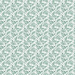 Christmas Foliage Seamless Pattern - Hand drawn foliage, stars, and dots