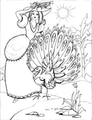The peacock with a beautiful Princess. Coloring book. Birds. 16