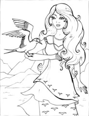 A Seagull with a beautiful young woman. Coloring book. Birds.18