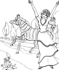 Zebra with beautiful Princess. Coloring book. 25