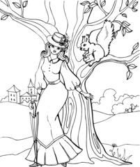 A squirrel with a beautiful young woman. Coloring book. 27