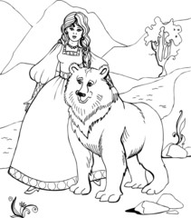 Bear with beautiful Princess. Coloring book 37