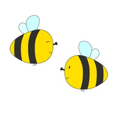 Flat color style illustration of cute little flying bees. Vector illustration.
