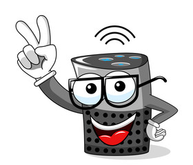 smart speaker cartoon funny happy victory sign isolated on white